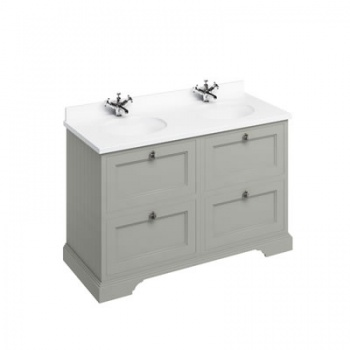 Freestanding 130 Vanity Unit with drawers - Minerva White worktop