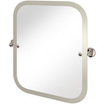 Arcade Bathrooms - Rectangular Swivel Mirror With Curved Corners And Nickel Plated Brass Wall Mounts