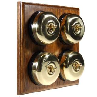 4 Gang 2 Way Asbury Medium Oak Wood, Polished Brass Dome Period Switch