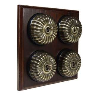 4 Gang 2 Way Asbury Dark Oak Wood, Fluted Dome Period Switch