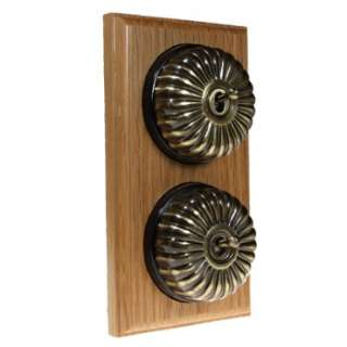 2 Gang 2 Way Asbury Light Oak Wood, Fluted Dome Period Switch