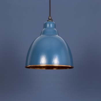 The Brindley Pendant - Hammered Copper and Blue-Grey Exterior