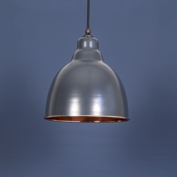 The Brindley Pendant - Hammered Copper and Charcoal Grey Exterior