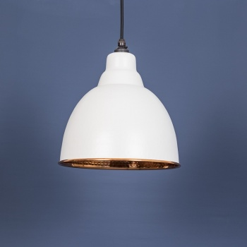 The Brindley Pendant in Hammered Copper and Grey Grain Exterior