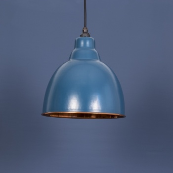 The Brindley Pendant - Smooth Copper and Blue-Gray Exterior