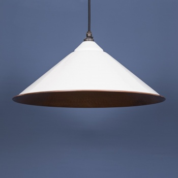 The Yardley Pendant - Hammered Copper and White Gloss Exterior