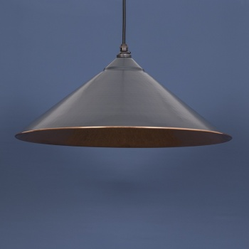 The Yardley Pendant - Smooth Copper and Charcoal Grey Exterior