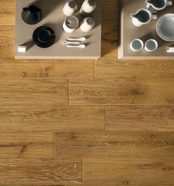 Wood effect floor tiles