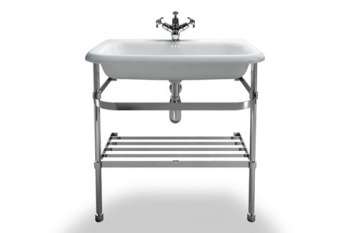 Large Roll Top Clearwater Basin With Stainless Steel Stand