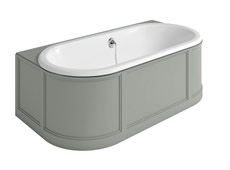 London Back To Wall Bath with Curved Surround incl overflow & waste