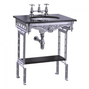 Black granite top & basin with polished aluminium washstand