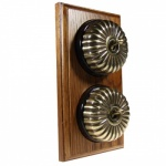 2 Gang 2 Way Asbury Medium Oak Wood, Fluted Dome Period Switch