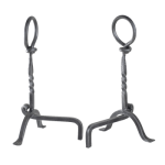 Ring Top Wrought Iron Fire Dog - Pair