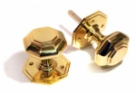 Octagonal Door Knobs - Brass