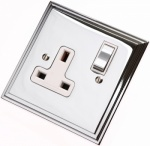 Edwardian Polished Chrome Plug Sockets