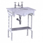 Carrera marble top & basin with white aluminium washstand