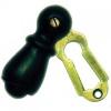 Solid Ebony Bun Door Knobs Brass Backplate