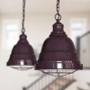Berwick Rustic Dome Pendant Light Mulberry Red Maroon