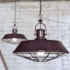 Brewer Cage Industrial Pendant Light Mulberry Red Maroon