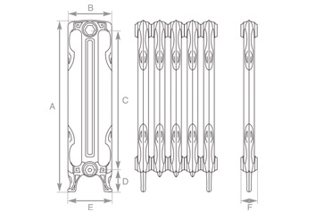 Liberty Cast Iron Radiator 865mm Spec