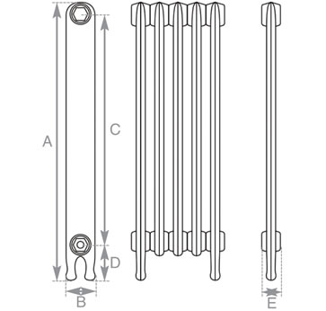 Narrow Eton Cast Iron Radiator 765mm Spec