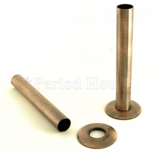 Cast Iron Radiator Pipe Shrouds - Antique Copper