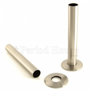 Cast Iron Radiator Pipe Shrouds - Satin Nickel
