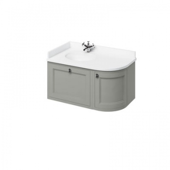 Wall Hung 100 Curved Corner Vanity Unit Left Hand - Minerva White
