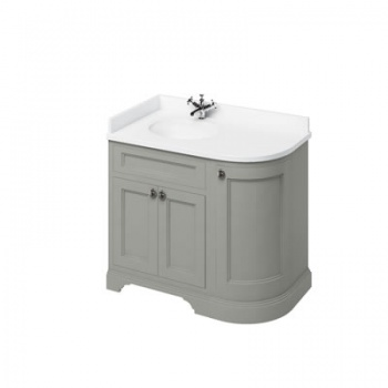 Freestanding 100 Curved Corner Vanity Unit - Minerva White Worktop