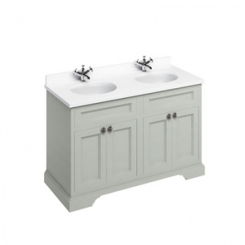 Freestanding 130 Vanity Unit with doors-Minerva White worktop