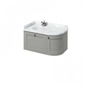 Wall Hung 100 Curved Corner Vanity Unit Left Hand - Carrara White