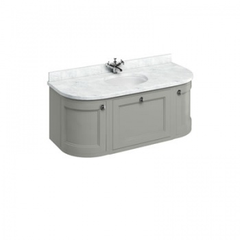 Wall Hung 134 Curved Vanity Unit - Carrara White Worktop