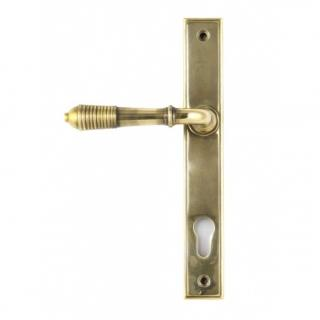 Aged Brass Reeded Slimline Lever Espag. Lock Set