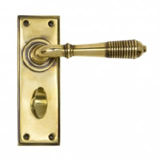 Aged Brass Reeded Lever Bathroom Set