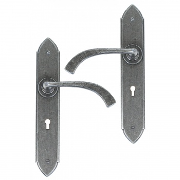 Curved Gothic Lever Lock Set - Pewter