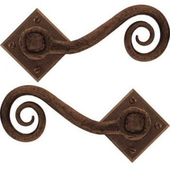 Monkeytail Handle on Diamond Rosette - Bronze