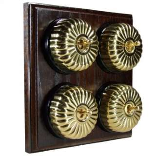 4 Gang 2 Way Asbury Dark Oak Wood, Fluted Polished Brass Dome Period Switch