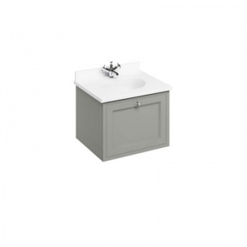 Wall Hung 65 Vanity Unit single drawer - Minerva White Worktop