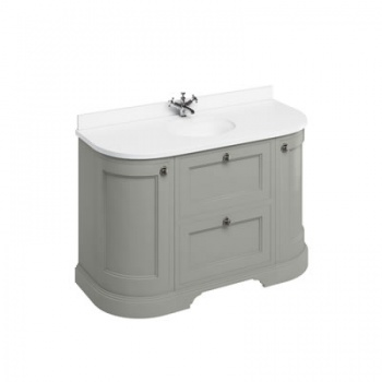 Freestanding 134 Curved Vanity Unit with drawers - Minerva White worktop