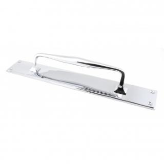 Polished Chrome 425mm Art Deco Pull Handle On Backplate