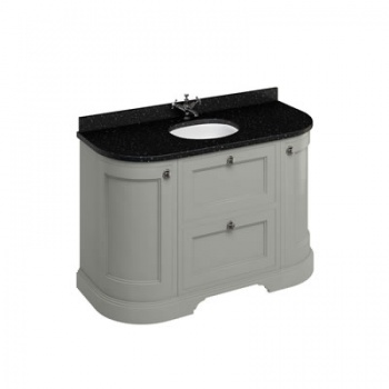 Freestanding 134 Curved Vanity Unit with drawers - Black Granite Worktop