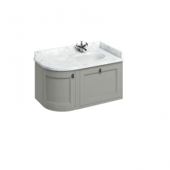Wall Hung 100 Curved Corner Vanity Unit Right Hand - Carrara White
