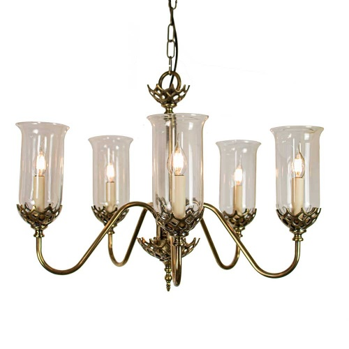 Gothic Five Arm Chandelier With Storm Glasses
