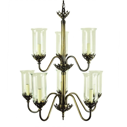 Gothic Eight Arm Chandelier With Storm Glasses