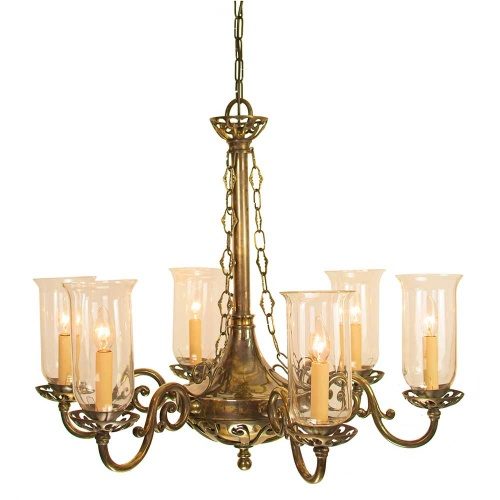Empire 6 Arm Chandelier With Storm Glasses