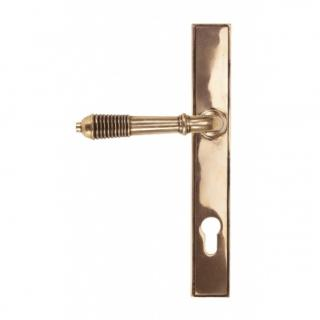 Polished Bronze Reeded Slimline Lever Espag. Lock Set