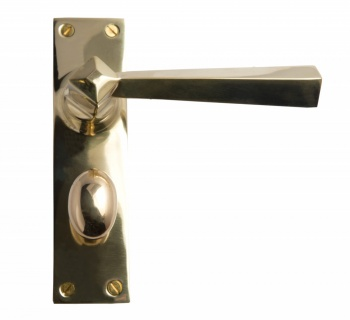 Tapered Lever Bathroom Lockset Plate - Brass