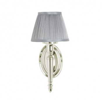 Arcade Wall Light with Oval Base and Cup Silver Chiffon Shade - Nickel