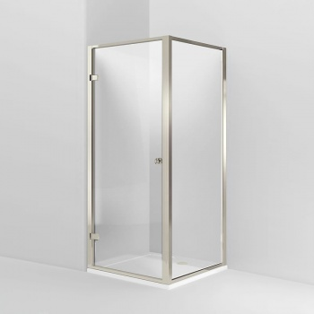 Arcade Bathrooms -Arcade Hinged Shower Door & Side Panel - Nickel - Various Size Options