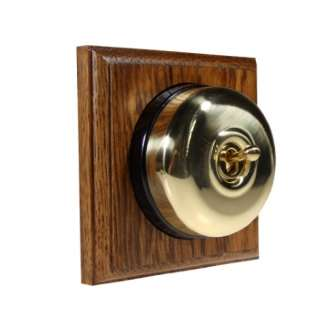 1 Gang Intermediate Asbury Medium Oak Wood, Polished Brass Dome Period Switch